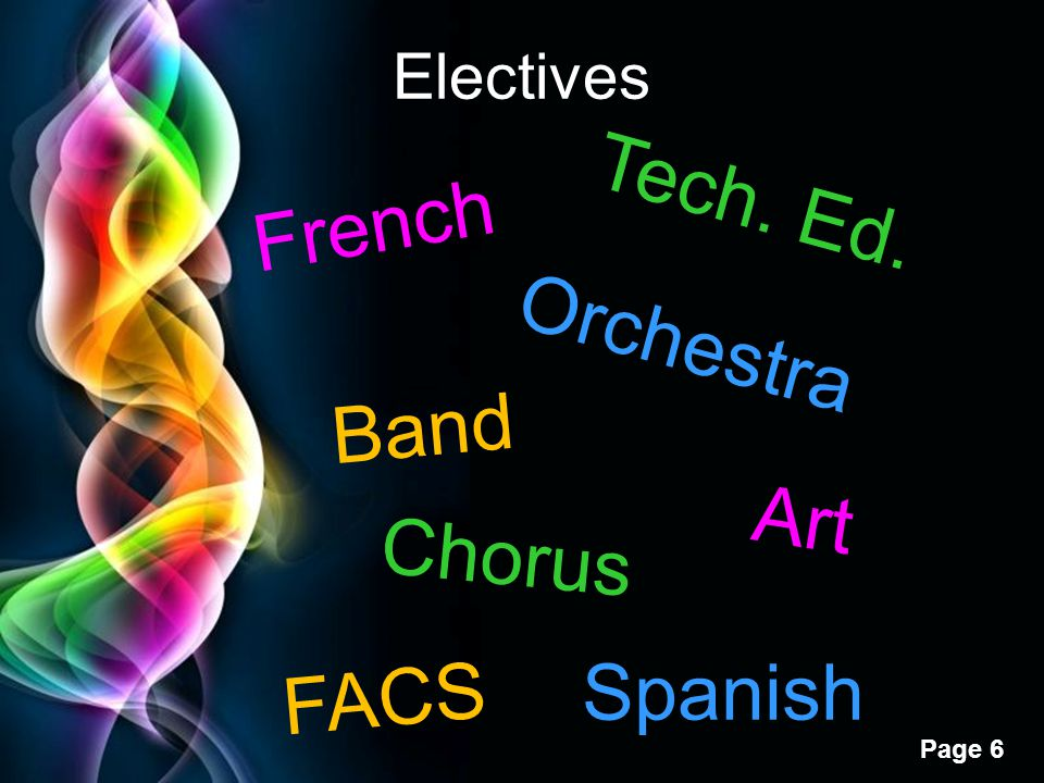 Free Powerpoint Templates Page 6 Electives Band Orchestra Chorus Art French Spanish Tech. Ed. FACS