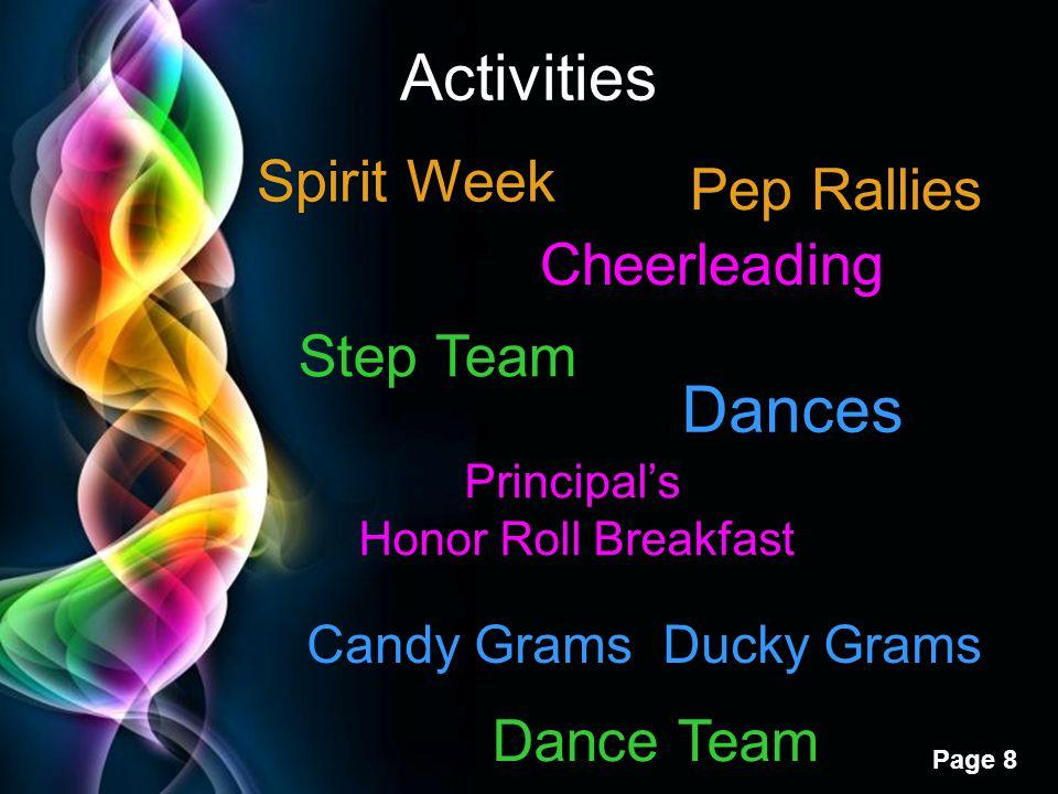 Free Powerpoint Templates Page 8 Activities Cheerleading Step Team Dance Team Spirit Week Dances Principal's Honor Roll Breakfast Candy Grams Ducky Gr