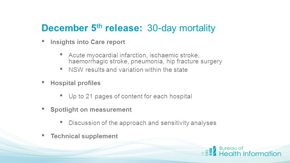 December 5 th release: 30-day mortality Insights into Care report Acute myocardial infarction, ischaemic stroke, haemorrhagic stroke, pneumonia, hip f