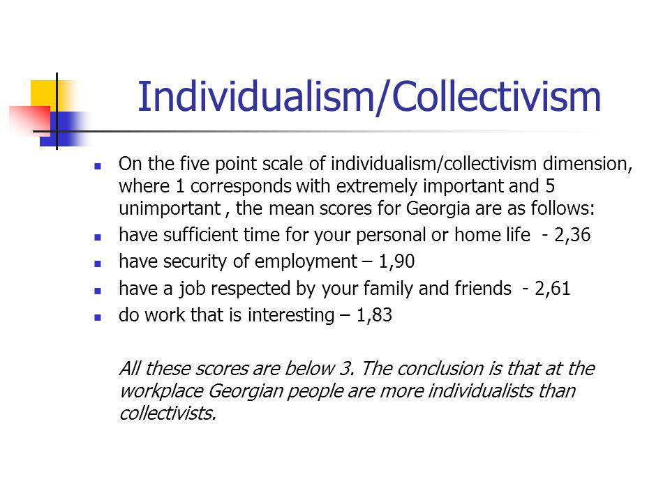 Individualism/Collectivism On the five point scale of individualism/collectivism dimension, where 1 corresponds with extremely important and 5 unimportant, the mean scores for Georgia are as follows: have sufficient time for your personal or home life - 2,36 have security of employment – 1,90 have a job respected by your family and friends - 2,61 do work that is interesting – 1,83 All these scores are below 3.