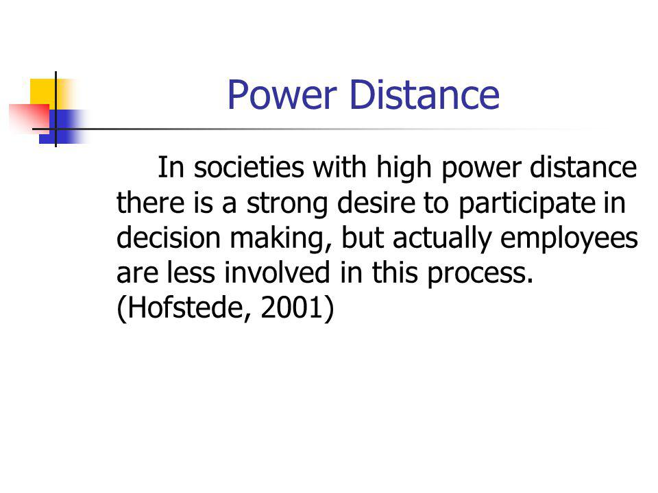 Power Distance In societies with high power distance there is a strong desire to participate in decision making, but actually employees are less involved in this process.