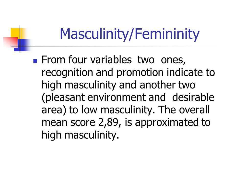Masculinity/Femininity From four variables two ones, recognition and promotion indicate to high masculinity and another two (pleasant environment and