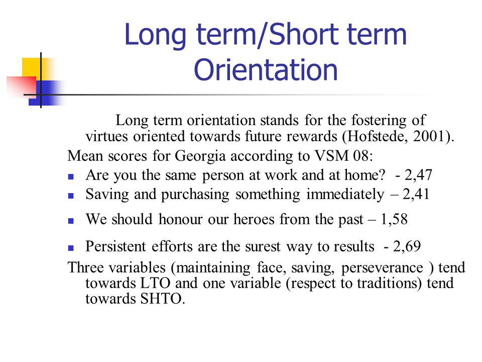 Long term/Short term Orientation Long term orientation stands for the fostering of virtues oriented towards future rewards (Hofstede, 2001). Mean scor