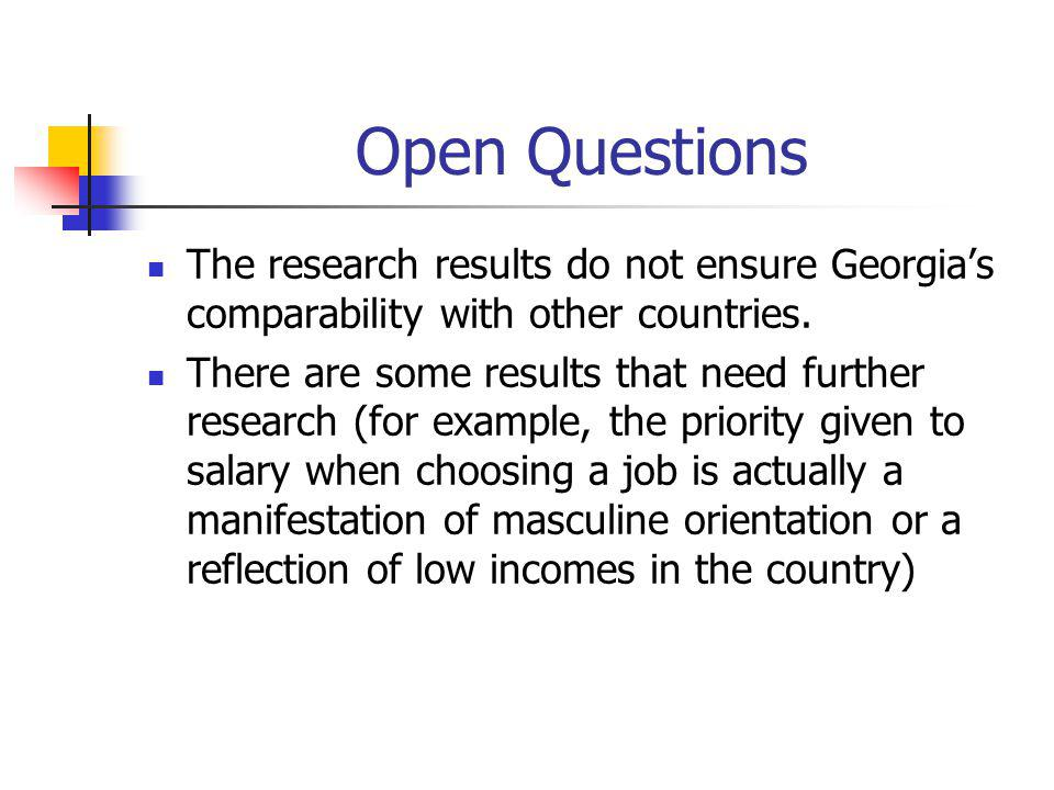 Open Questions The research results do not ensure Georgia's comparability with other countries. There are some results that need further research (for