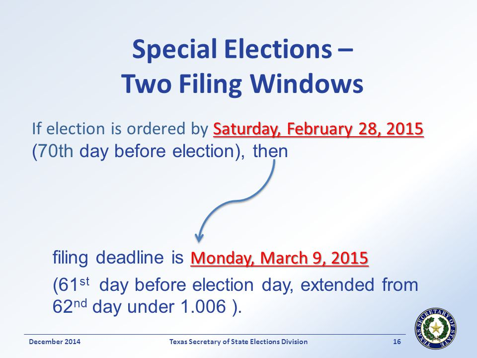 Special Elections – Two Filing Windows Saturday, February 28, 2015 If election is ordered by Saturday, February 28, 2015 (70th day before election), t