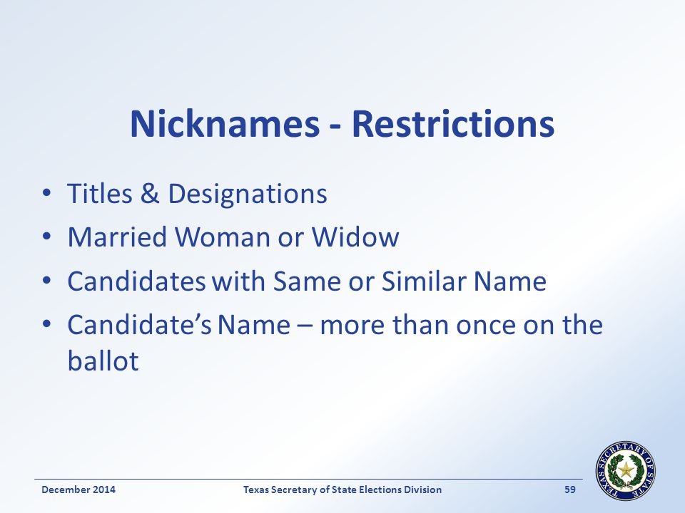 Nicknames - Restrictions Titles & Designations Married Woman or Widow Candidates with Same or Similar Name Candidate's Name – more than once on the ba