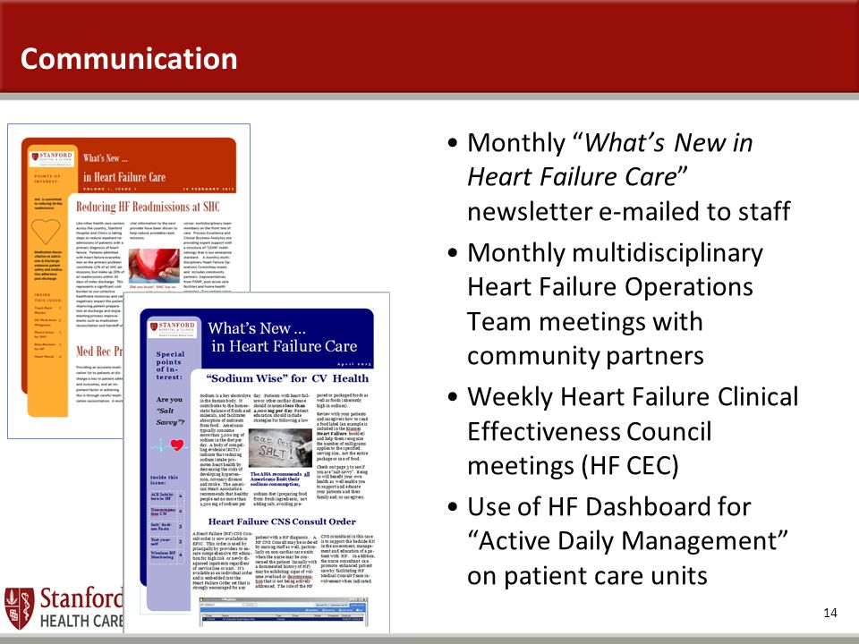 "14 Communication Monthly ""What's New in Heart Failure Care"" newsletter e-mailed to staff Monthly multidisciplinary Heart Failure Operations Team meeti"