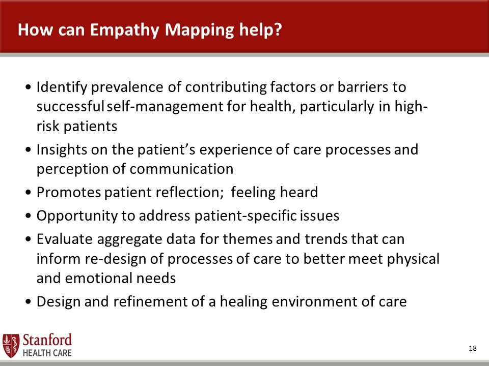 18 How can Empathy Mapping help? Identify prevalence of contributing factors or barriers to successful self-management for health, particularly in hig