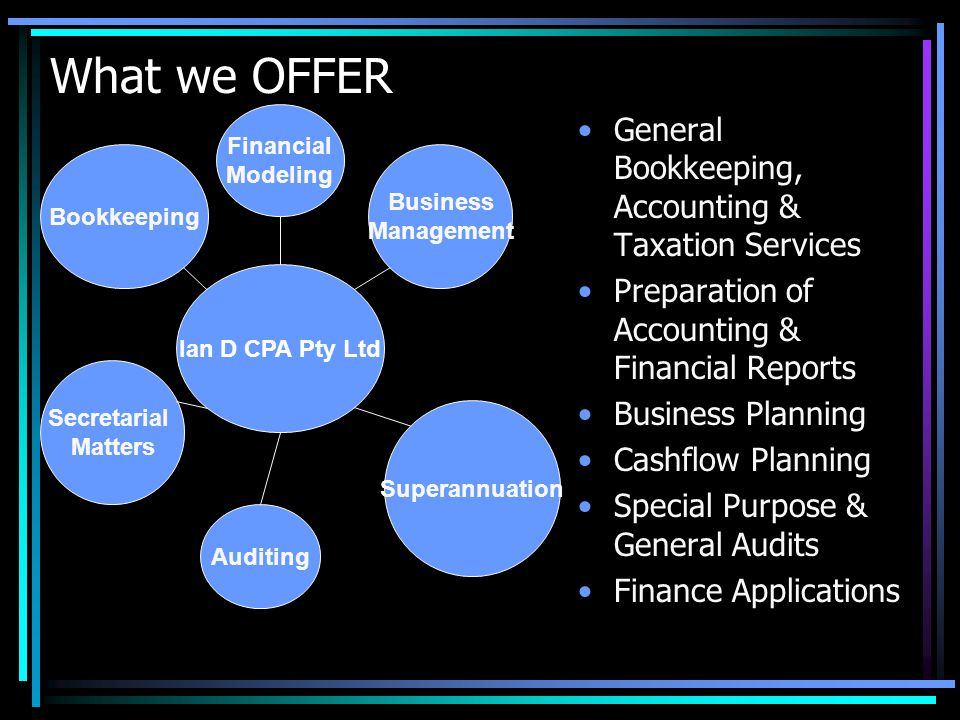 What we OFFER General Bookkeeping, Accounting & Taxation Services Preparation of Accounting & Financial Reports Business Planning Cashflow Planning Special Purpose & General Audits Finance Applications Ian D CPA Pty Ltd Bookkeeping Business Management Auditing Superannuation Financial Modeling Secretarial Matters