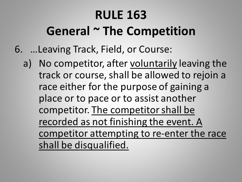 RULE 163 General ~ The Competition 6.…Leaving Track, Field, or Course: a)No competitor, after voluntarily leaving the track or course, shall be allowe