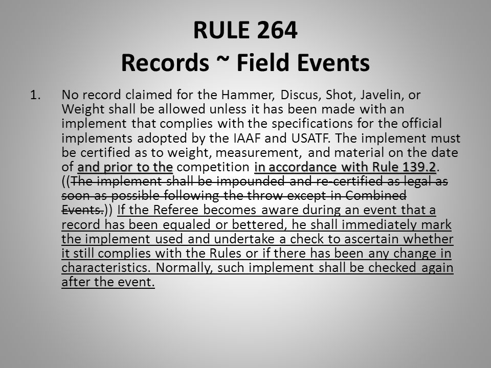 RULE 264 Records ~ Field Events and prior to thein accordance with Rule 139.2 1.No record claimed for the Hammer, Discus, Shot, Javelin, or Weight sha