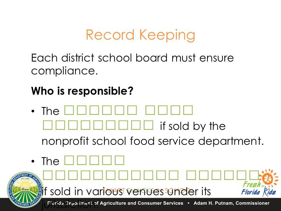 SMART SNACKS IN SCHOOL Each district school board must ensure compliance.