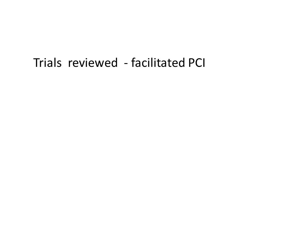Trials reviewed - facilitated PCI