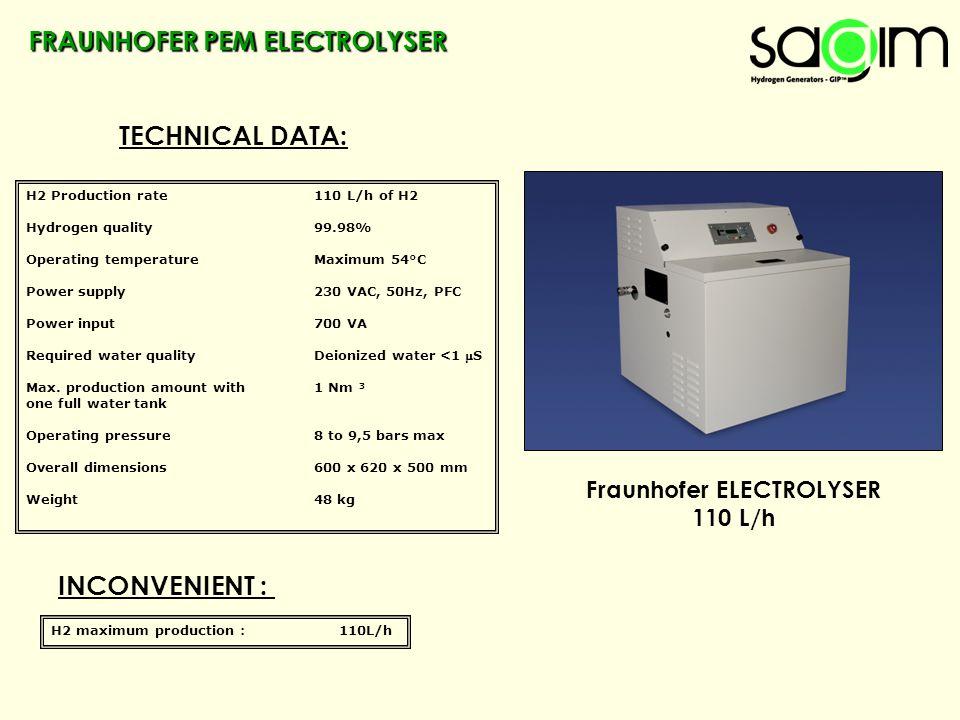FRAUNHOFER PEM ELECTROLYSER TECHNICAL DATA: Fraunhofer ELECTROLYSER 110 L/h H2 Production rate110 L/h of H2 Hydrogen quality99.98% Operating temperatu