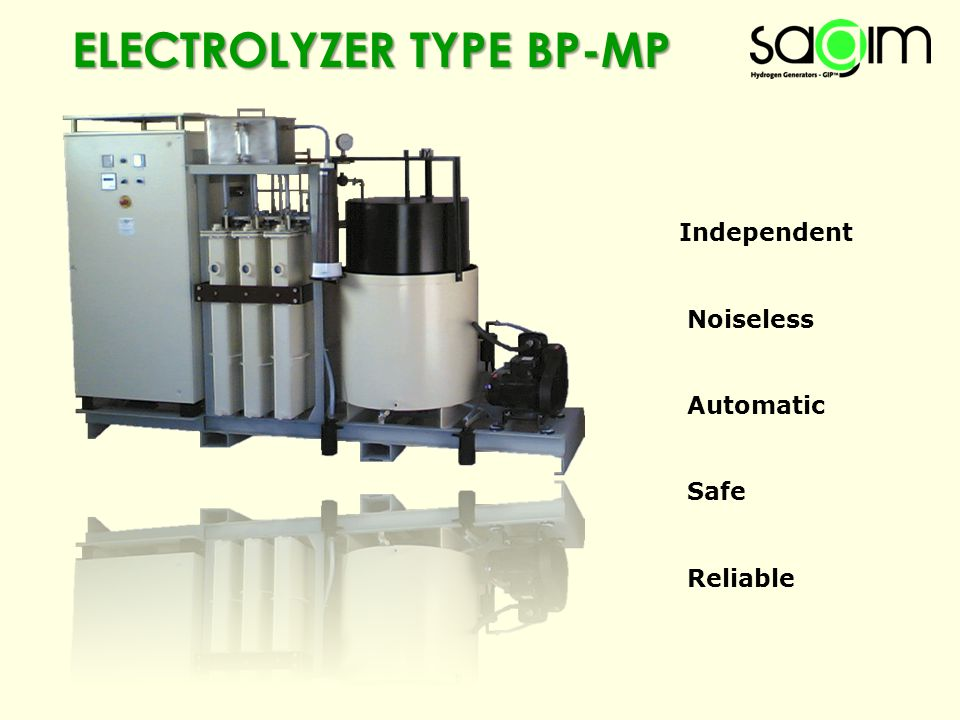 ELECTROLYZER TYPE BP-MP Independent Noiseless Automatic Safe Reliable
