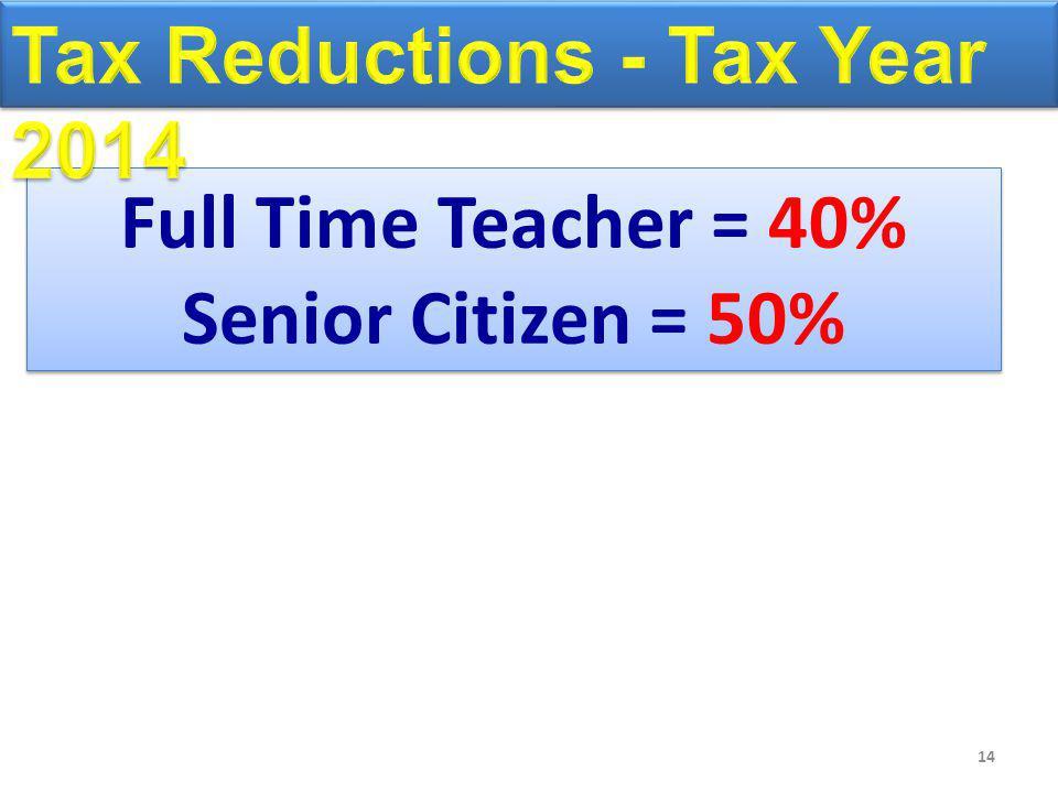14 Full Time Teacher = 40% Senior Citizen = 50% Full Time Teacher = 40% Senior Citizen = 50%