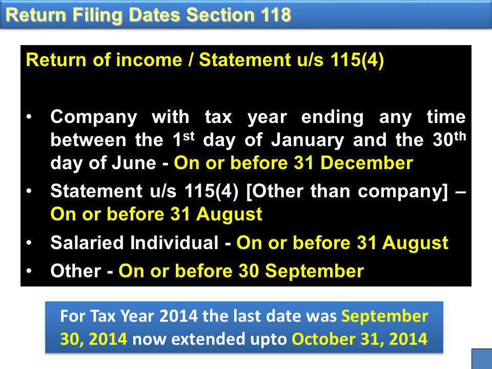 Return of income / Statement u/s 115(4) Company with tax year ending any time between the 1 st day of January and the 30 th day of June - On or before 31 December Statement u/s 115(4) [Other than company] – On or before 31 August Salaried Individual - On or before 31 August Other - On or before 30 September Return Filing Dates Section 118 For Tax Year 2014 the last date was September 30, 2014 now extended upto October 31, 2014