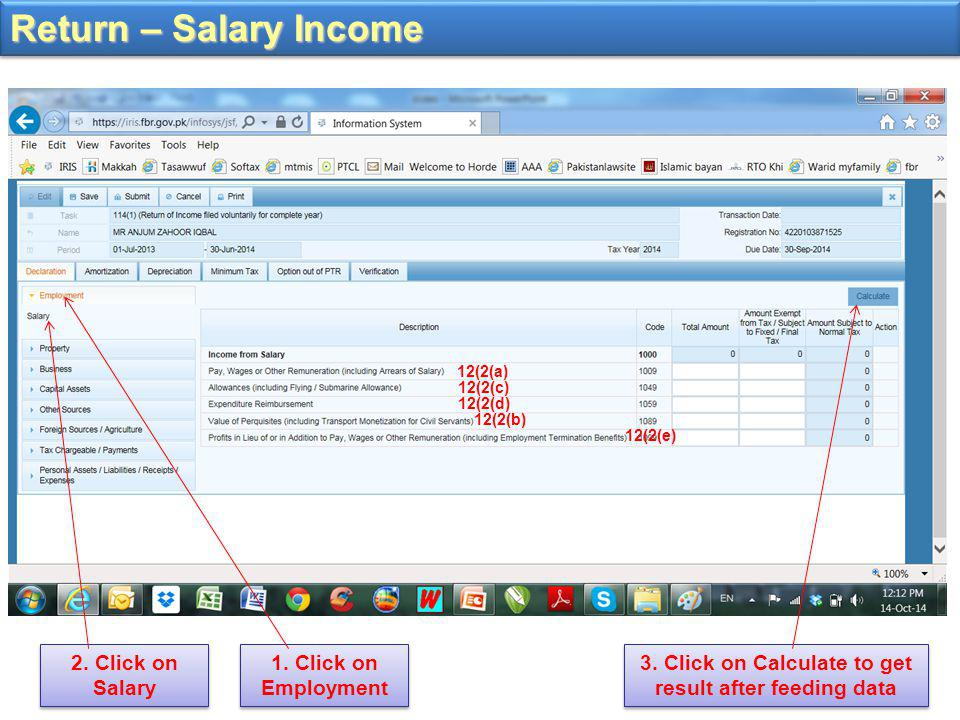 Return – Salary Income 1. Click on Employment 12(2(a) 12(2(c) 12(2(d) 12(2(b) 12(2(e) 2.