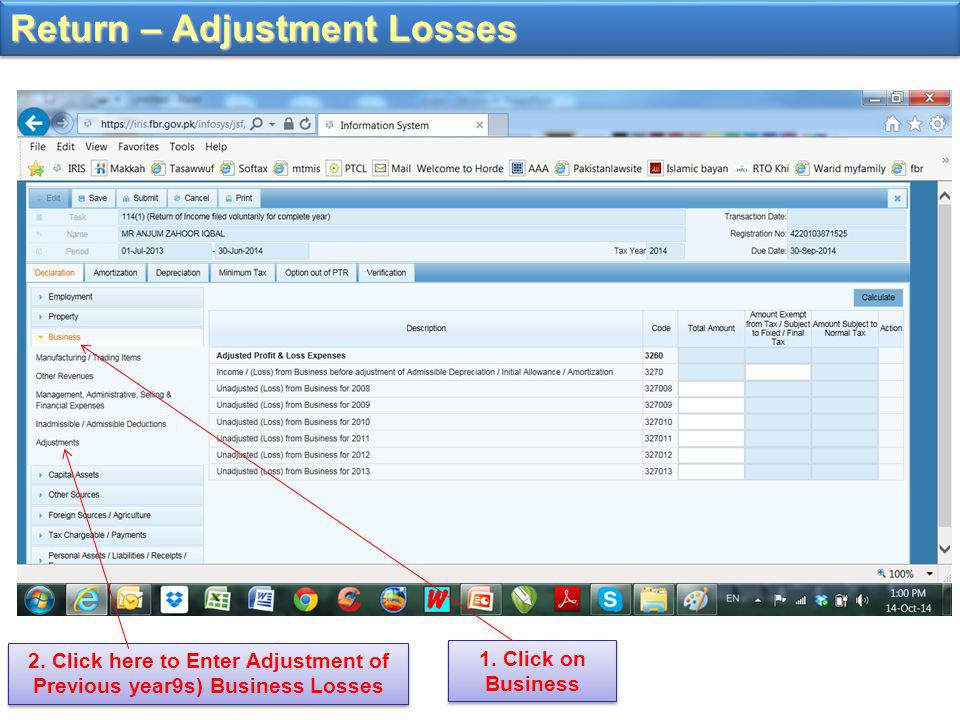 Return – Adjustment Losses 1.Click on Business 2.