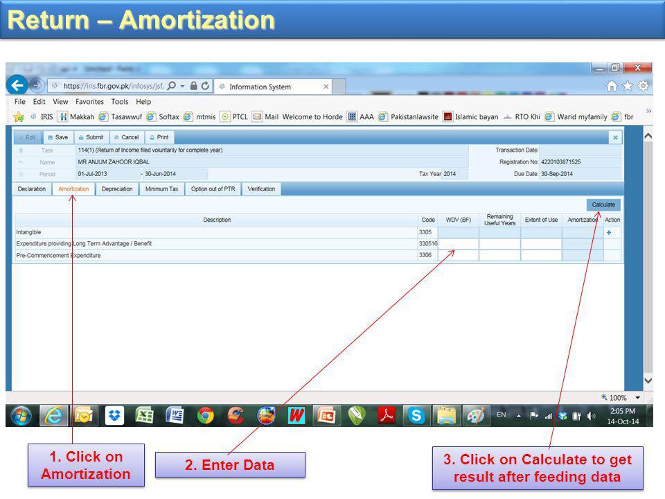 Return – Amortization 1. Click on Amortization 2.