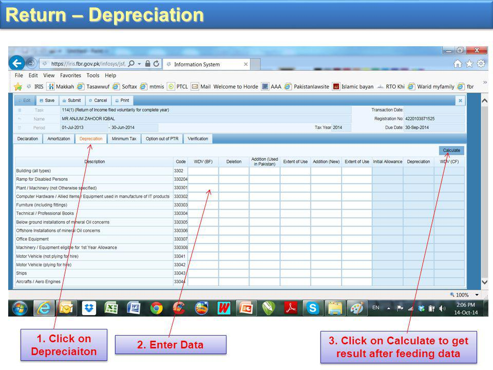 Return – Depreciation 3.Click on Calculate to get result after feeding data 1.
