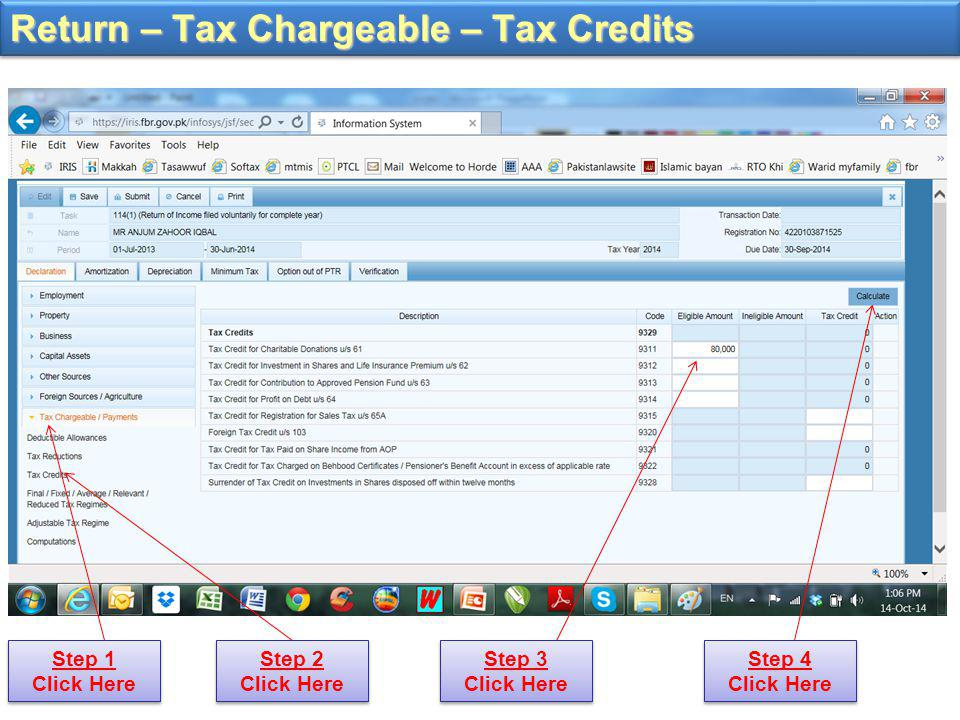 Return – Tax Chargeable – Tax Credits Step 1 Click Here Step 2 Click Here Step 3 Click Here Step 4 Click Here