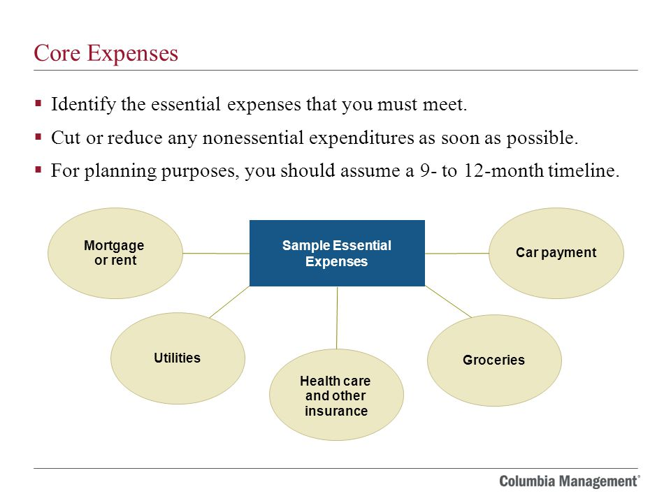 Core Expenses  Identify the essential expenses that you must meet.