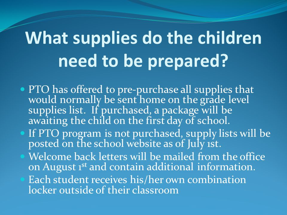 What supplies do the children need to be prepared.