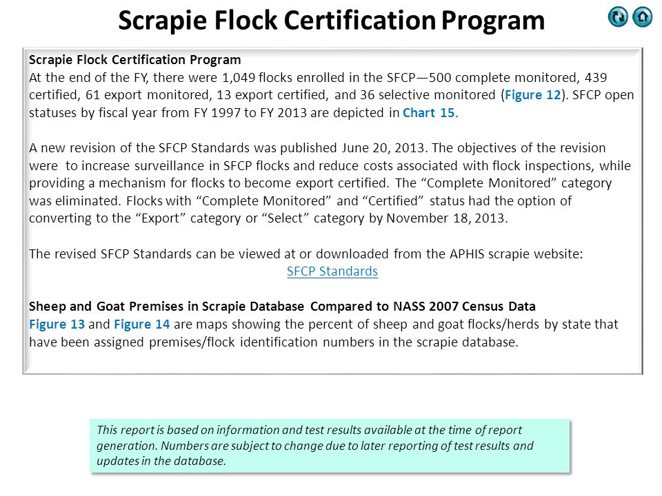 Scrapie Flock Certification Program At the end of the FY, there were 1,049 flocks enrolled in the SFCP—500 complete monitored, 439 certified, 61 export monitored, 13 export certified, and 36 selective monitored (Figure 12).