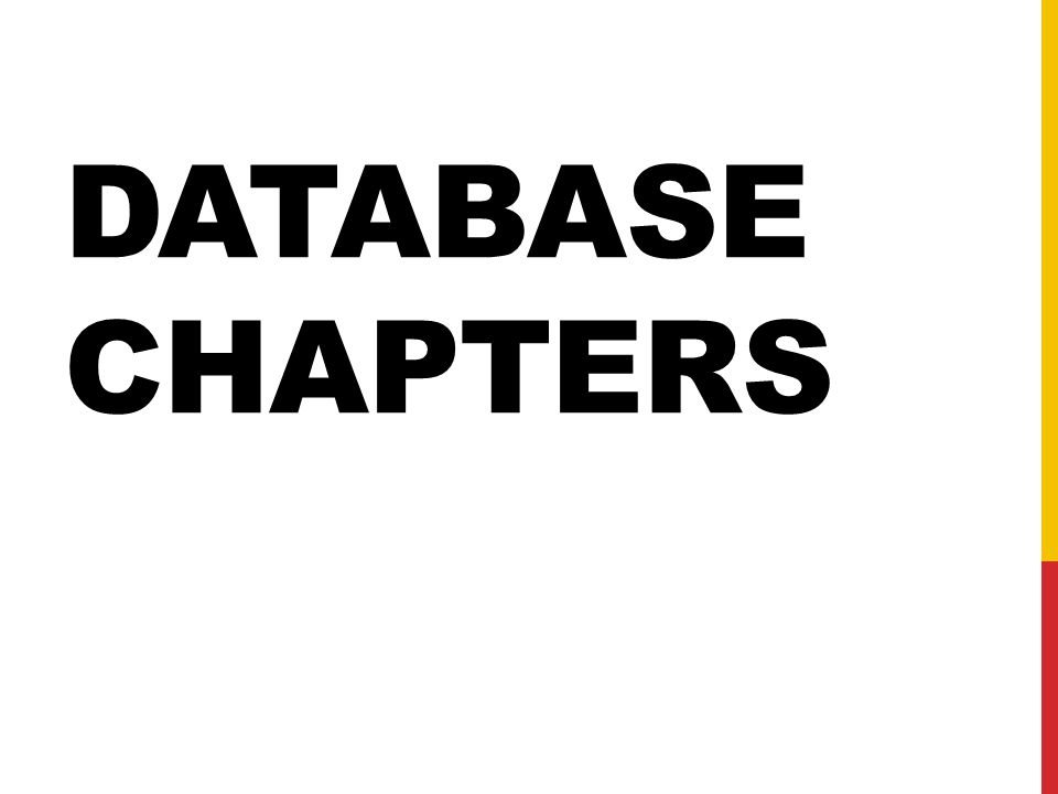 DATABASE CHAPTERS