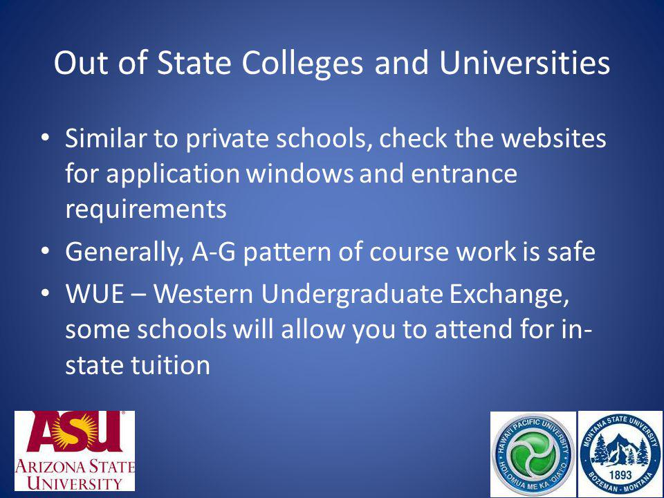 Out of State Colleges and Universities Similar to private schools, check the websites for application windows and entrance requirements Generally, A-G pattern of course work is safe WUE – Western Undergraduate Exchange, some schools will allow you to attend for in- state tuition