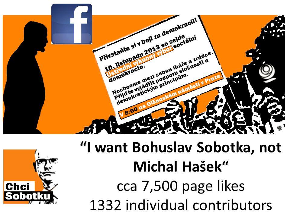 """I want Bohuslav Sobotka, not Michal Hašek"" cca 7,500 page likes 1332 individual contributors"