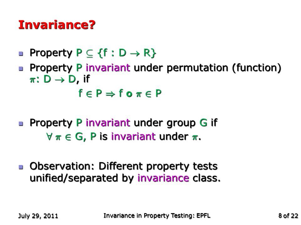 of 22 Invariances (contd.) Some examples: Some examples: Classical statistics: Invariant under all permutations.