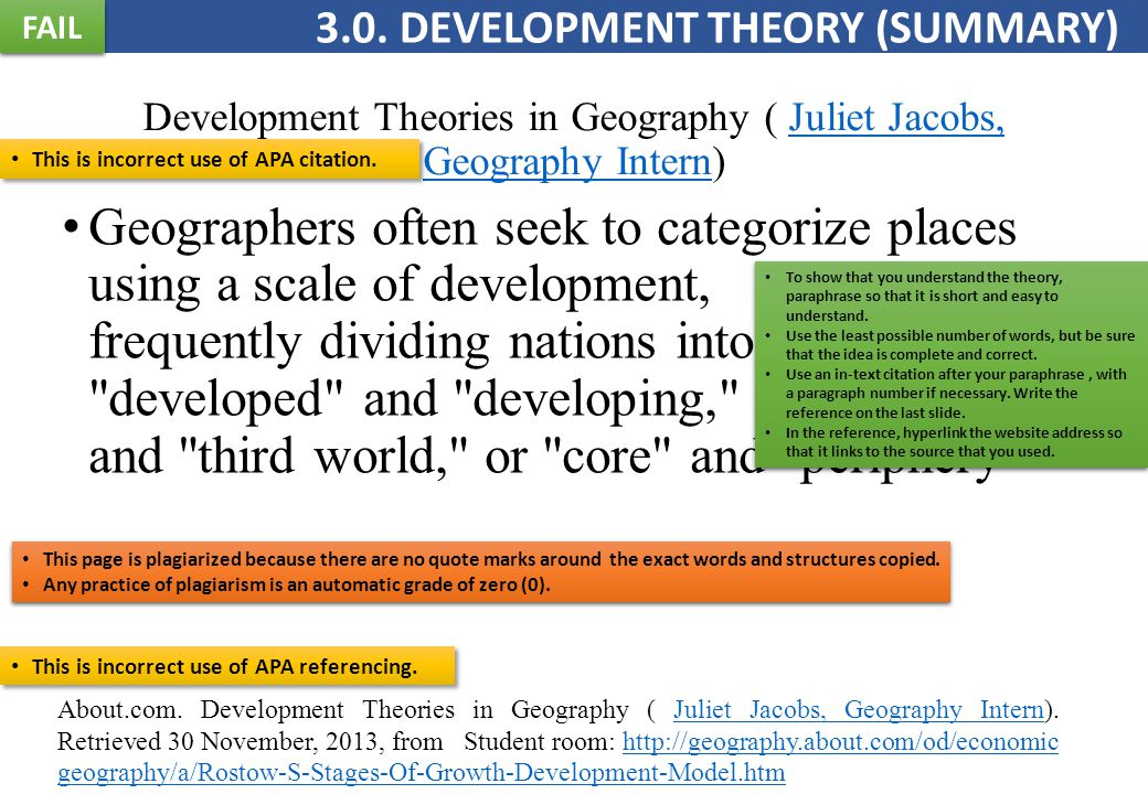 Development Theories in Geography ( Juliet Jacobs, Geography Intern)Juliet Jacobs, Geography Intern Geographers often seek to categorize places using a scale of development, frequently dividing nations into the developed and developing, first world and third world, or core and periphery About.com.