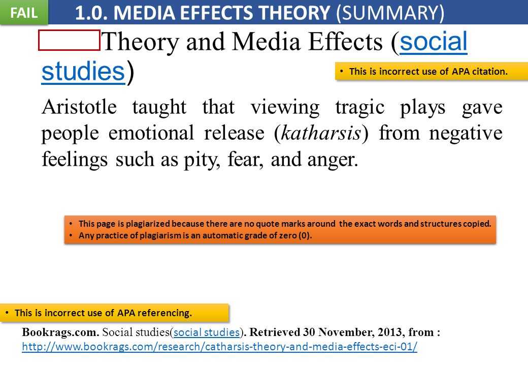 Theory and Media Effects ( social studies) social studies Aristotle taught that viewing tragic plays gave people emotional release (katharsis) from negative feelings such as pity, fear, and anger.