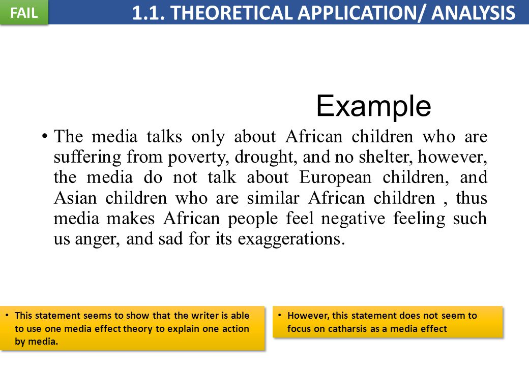 Example The media talks only about African children who are suffering from poverty, drought, and no shelter, however, the media do not talk about European children, and Asian children who are similar African children, thus media makes African people feel negative feeling such us anger, and sad for its exaggerations.