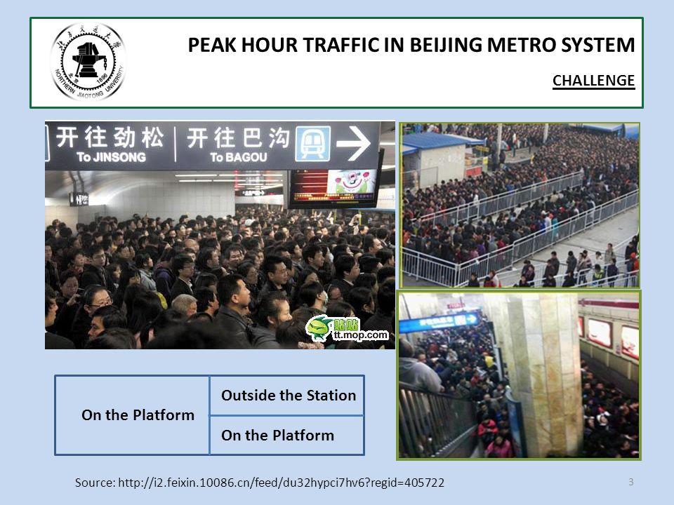 3 PEAK HOUR TRAFFIC IN BEIJING METRO SYSTEM CHALLENGE Source: http://i2.feixin.10086.cn/feed/du32hypci7hv6 regid=405722 On the Platform Outside the Station