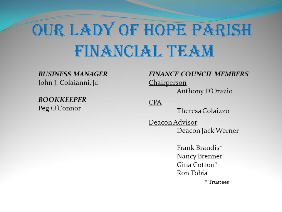 Our Lady of Hope Parish Financial Team BUSINESS MANAGER John J.