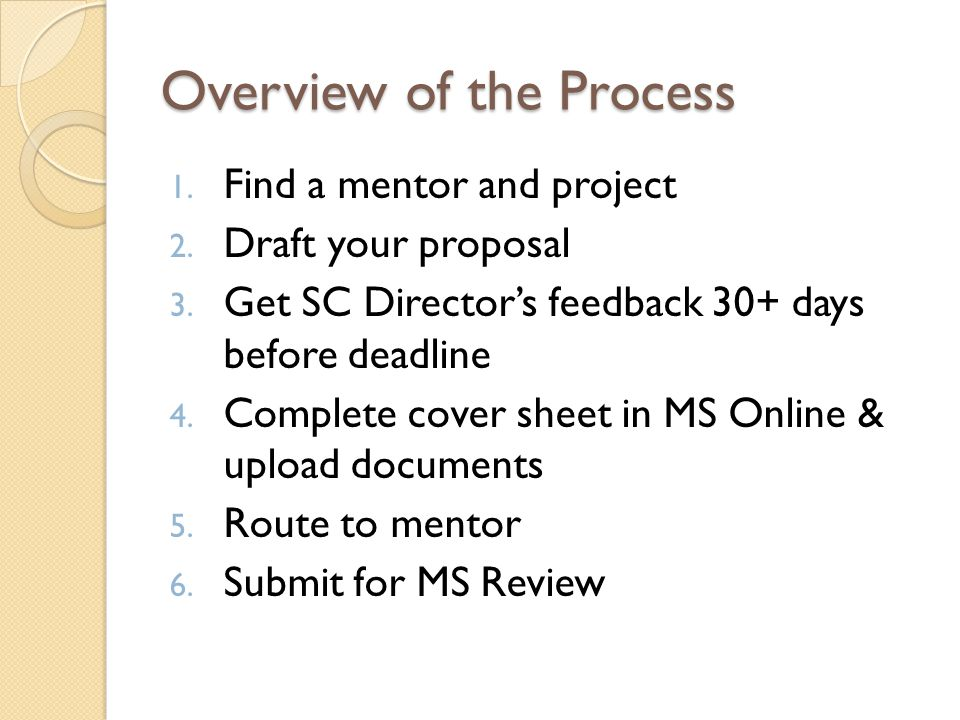 Overview of the Process 1. Find a mentor and project 2.