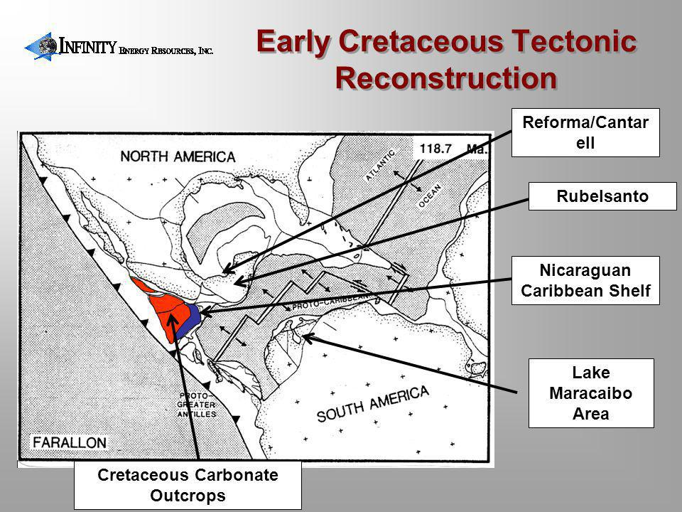 Early Cretaceous Tectonic Reconstruction Nicaraguan Caribbean Shelf Lake Maracaibo Area Reforma/Cantar ell Rubelsanto Cretaceous Carbonate Outcrops