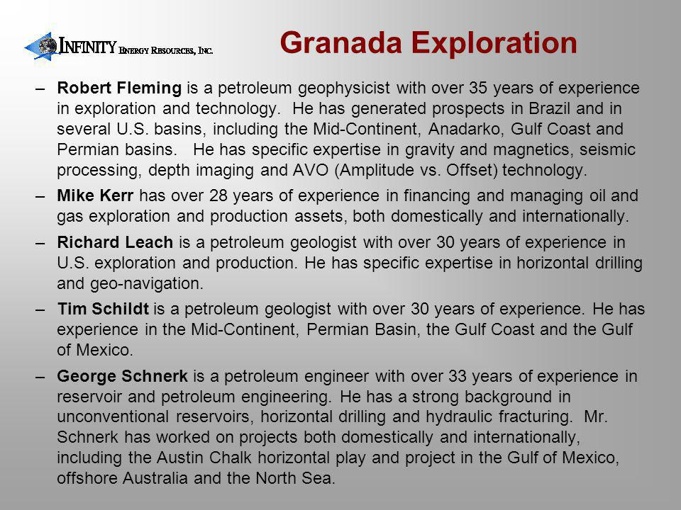 Granada Exploration –Robert Fleming is a petroleum geophysicist with over 35 years of experience in exploration and technology.