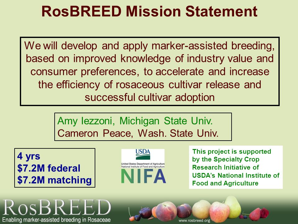 RosBREED Mission Statement We will develop and apply marker-assisted breeding, based on improved knowledge of industry value and consumer preferences, to accelerate and increase the efficiency of rosaceous cultivar release and successful cultivar adoption 4 yrs $7.2M federal $7.2M matching Amy Iezzoni, Michigan State Univ.
