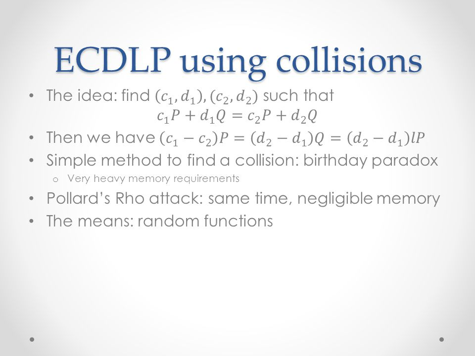 ECDLP using collisions