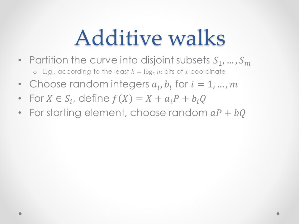 Additive walks