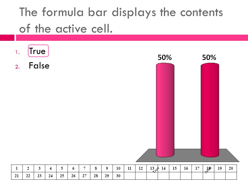 The formula bar displays the contents of the active cell. 1. True 2. False 1234567891011121314151617181920 21222324252627282930