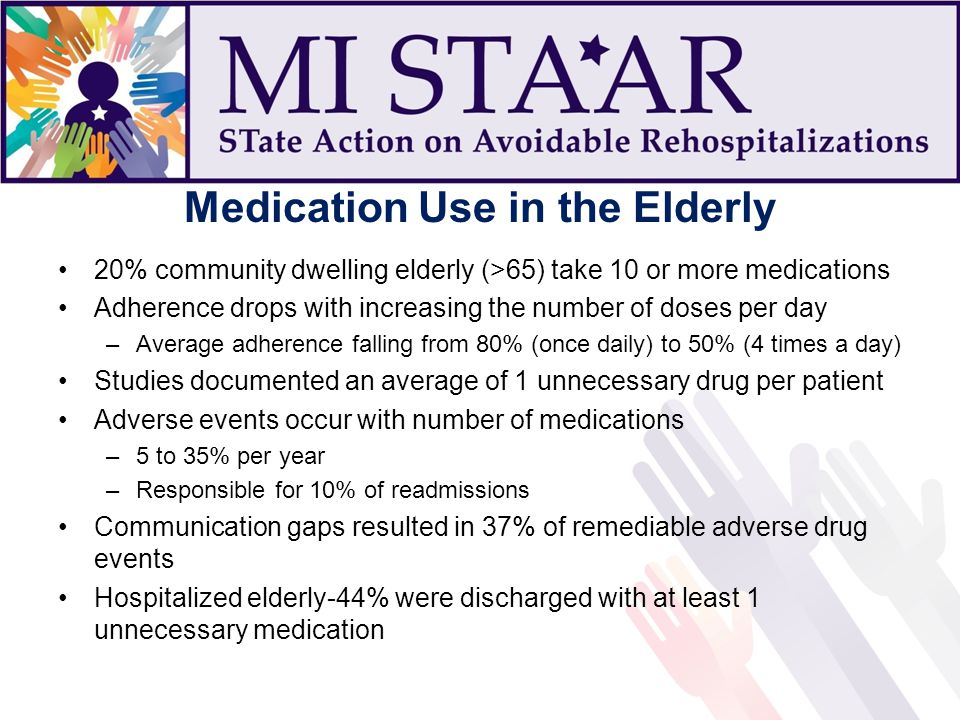 Medication Use in the Elderly 20% community dwelling elderly (>65) take 10 or more medications Adherence drops with increasing the number of doses per day –Average adherence falling from 80% (once daily) to 50% (4 times a day) Studies documented an average of 1 unnecessary drug per patient Adverse events occur with number of medications –5 to 35% per year –Responsible for 10% of readmissions Communication gaps resulted in 37% of remediable adverse drug events Hospitalized elderly-44% were discharged with at least 1 unnecessary medication