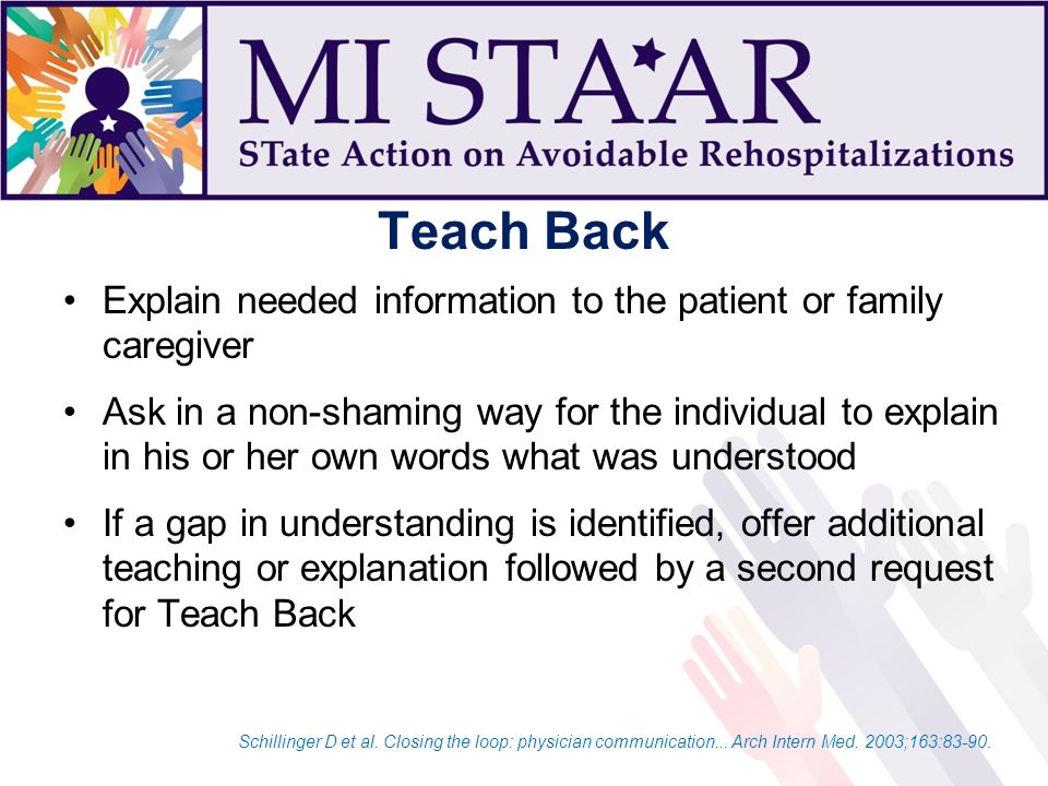 Teach Back Explain needed information to the patient or family caregiver Ask in a non-shaming way for the individual to explain in his or her own words what was understood If a gap in understanding is identified, offer additional teaching or explanation followed by a second request for Teach Back Schillinger D et al.