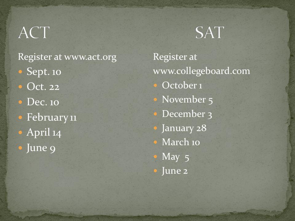 Register at www.act.org Sept. 10 Oct. 22 Dec.