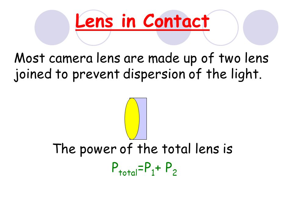 Power of Lens Opticians use power to describe lenses.