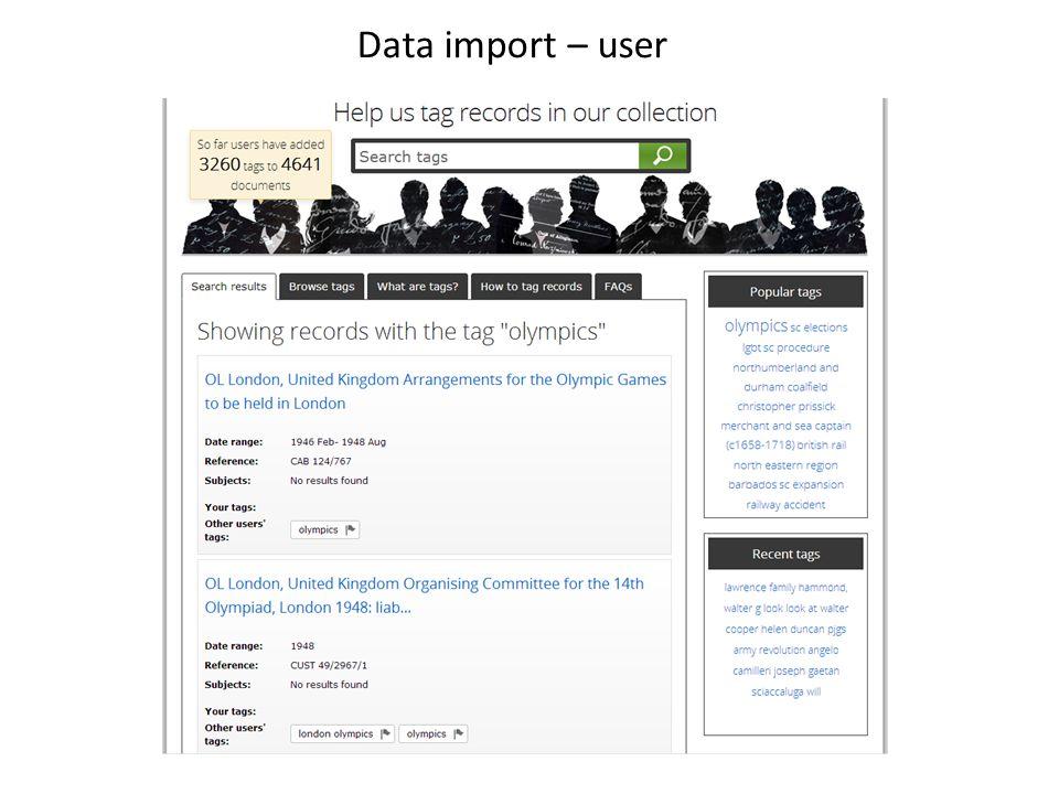 Data import – user